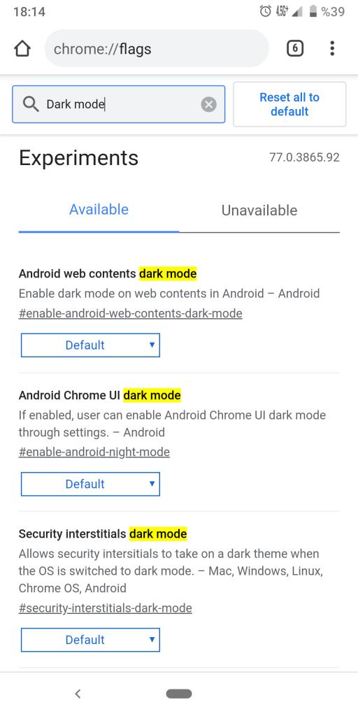 Google Chrome Karanlık Modunu Aktif Etmek